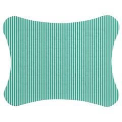 Classy Tiffany Aqua Blue Sailor Stripes Jigsaw Puzzle Photo Stand (bow) by PodArtist