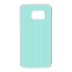Classy Tiffany Aqua Blue Sailor Stripes Samsung Galaxy S7 White Seamless Case by PodArtist