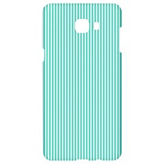 Classy Tiffany Aqua Blue Sailor Stripes Samsung C9 Pro Hardshell Case  by PodArtist