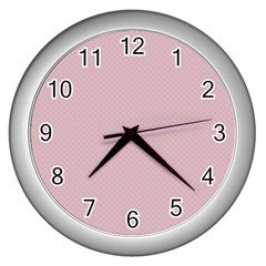 Baby Pink Stitched And Quilted Pattern Wall Clocks (silver)  by PodArtist