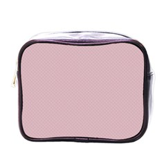 Baby Pink Stitched And Quilted Pattern Mini Toiletries Bags by PodArtist