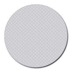 Bright White Stitched And Quilted Pattern Round Mousepads by PodArtist
