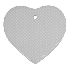 Bright White Stitched And Quilted Pattern Ornament (heart) by PodArtist