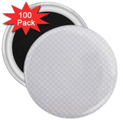 Bright White Stitched And Quilted Pattern 3  Magnets (100 Pack) by PodArtist