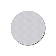 Bright White Stitched And Quilted Pattern Rubber Coaster (round)  by PodArtist