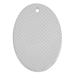 Bright White Stitched And Quilted Pattern Oval Ornament (two Sides) by PodArtist