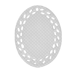 Bright White Stitched And Quilted Pattern Oval Filigree Ornament (two Sides) by PodArtist
