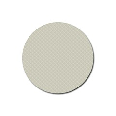 Rich Cream Stitched And Quilted Pattern Rubber Coaster (round)  by PodArtist