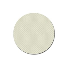 Rich Cream Stitched And Quilted Pattern Magnet 3  (round) by PodArtist