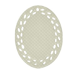 Rich Cream Stitched And Quilted Pattern Oval Filigree Ornament (two Sides) by PodArtist