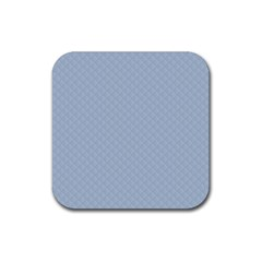 Powder Blue Stitched And Quilted Pattern Rubber Coaster (square)  by PodArtist