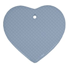 Powder Blue Stitched And Quilted Pattern Heart Ornament (two Sides) by PodArtist