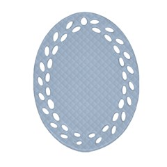 Powder Blue Stitched And Quilted Pattern Oval Filigree Ornament (two Sides) by PodArtist