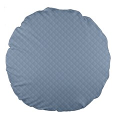 Powder Blue Stitched And Quilted Pattern Large 18  Premium Round Cushions by PodArtist