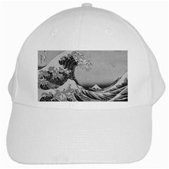 Black And White Japanese Great Wave Off Kanagawa By Hokusai White Cap