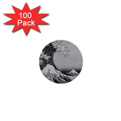 Black And White Japanese Great Wave Off Kanagawa By Hokusai 1  Mini Buttons (100 Pack)  by PodArtist