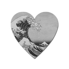 Black And White Japanese Great Wave Off Kanagawa By Hokusai Heart Magnet by PodArtist