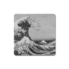 Black And White Japanese Great Wave Off Kanagawa By Hokusai Square Magnet by PodArtist