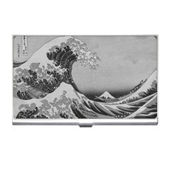 Black And White Japanese Great Wave Off Kanagawa By Hokusai Business Card Holders by PodArtist