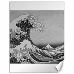 Black And White Japanese Great Wave Off Kanagawa By Hokusai Canvas 18  X 24   by PodArtist