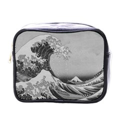Black And White Japanese Great Wave Off Kanagawa By Hokusai Mini Toiletries Bags by PodArtist