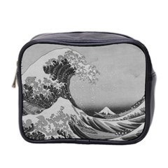 Black And White Japanese Great Wave Off Kanagawa By Hokusai Mini Toiletries Bag 2 Side by PodArtist