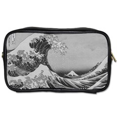 Black And White Japanese Great Wave Off Kanagawa By Hokusai Toiletries Bags 2 Side by PodArtist
