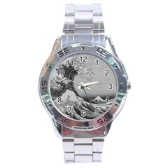 Black And White Japanese Great Wave Off Kanagawa By Hokusai Stainless Steel Analogue Watch by PodArtist