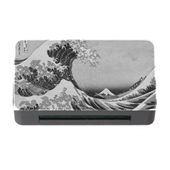 Black And White Japanese Great Wave Off Kanagawa By Hokusai Memory Card Reader With Cf by PodArtist
