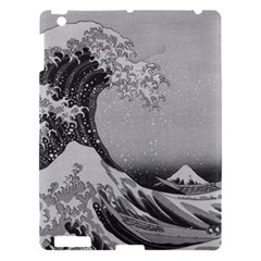 Black And White Japanese Great Wave Off Kanagawa By Hokusai Apple Ipad 3/4 Hardshell Case