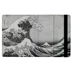 Black And White Japanese Great Wave Off Kanagawa By Hokusai Apple Ipad 2 Flip Case by PodArtist