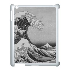 Black And White Japanese Great Wave Off Kanagawa By Hokusai Apple Ipad 3/4 Case (white) by PodArtist