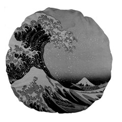 Black And White Japanese Great Wave Off Kanagawa By Hokusai Large 18  Premium Round Cushions by PodArtist