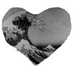 Black and White Japanese Great Wave off Kanagawa by Hokusai Large 19  Premium Heart Shape Cushions Back