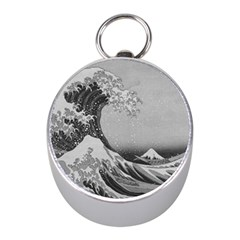 Black And White Japanese Great Wave Off Kanagawa By Hokusai Mini Silver Compasses by PodArtist