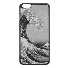 Black And White Japanese Great Wave Off Kanagawa By Hokusai Apple Iphone 6 Plus/6s Plus Black Enamel Case by PodArtist