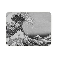 Black And White Japanese Great Wave Off Kanagawa By Hokusai Double Sided Flano Blanket (mini)  by PodArtist
