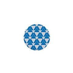 Blue & White Triangle Pattern  1  Mini Buttons by berwies