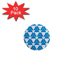 Blue & White Triangle Pattern  1  Mini Magnet (10 Pack)  by berwies