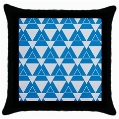 Blue & White Triangle Pattern  Throw Pillow Case (black) by berwies