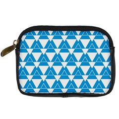 Blue & White Triangle Pattern  Digital Camera Cases by berwies
