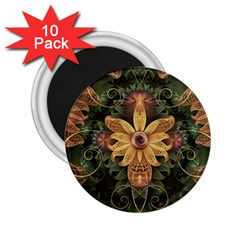 Beautiful Filigree Oxidized Copper Fractal Orchid 2 25  Magnets (10 Pack)  by jayaprime