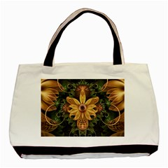 Beautiful Filigree Oxidized Copper Fractal Orchid Basic Tote Bag by jayaprime
