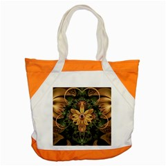 Beautiful Filigree Oxidized Copper Fractal Orchid Accent Tote Bag by jayaprime