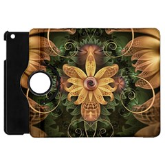 Beautiful Filigree Oxidized Copper Fractal Orchid Apple Ipad Mini Flip 360 Case by jayaprime