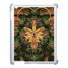Beautiful Filigree Oxidized Copper Fractal Orchid Apple Ipad 3/4 Case (white) by jayaprime