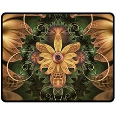 Beautiful Filigree Oxidized Copper Fractal Orchid Double Sided Fleece Blanket (medium)  by beautifulfractals
