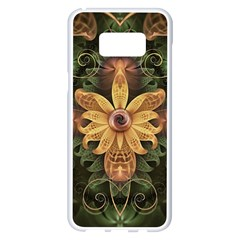 Beautiful Filigree Oxidized Copper Fractal Orchid Samsung Galaxy S8 Plus White Seamless Case by jayaprime