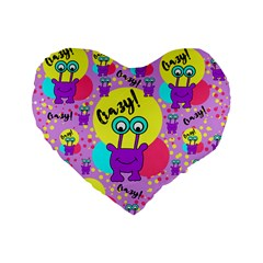 Crazy Standard 16  Premium Flano Heart Shape Cushions by gasi