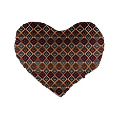 Native American Pattern 4 Standard 16  Premium Flano Heart Shape Cushions by Cveti